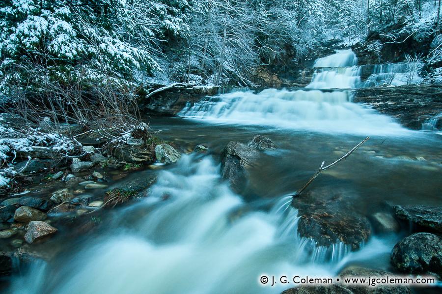 &#8220Snowy Twilight on Falls Brook&#8221, Kent Falls, Kent Falls State Park, Kent, Connecticut