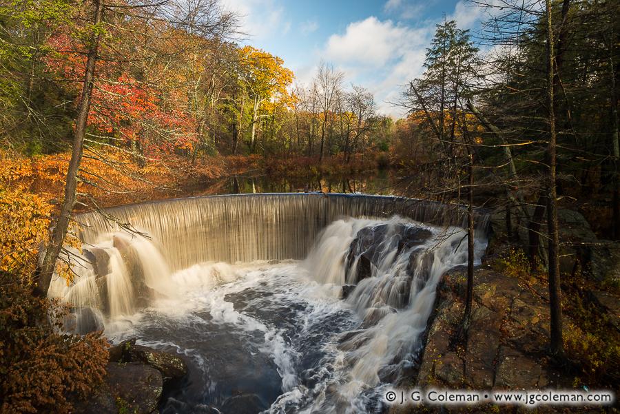 &#8220Pequabuck Cauldron, Autumn&#8221, Pequabuck Falls on the Pequabuck River, Plymouth, Connecticut