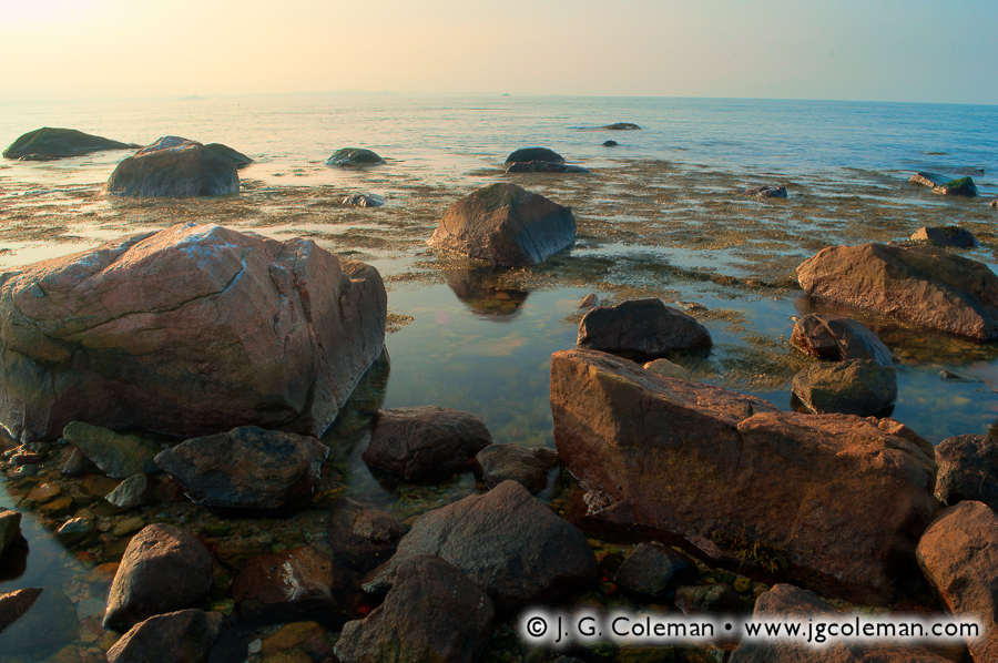 &#8220Rocky Shores at Dawn&#8221, Bluff Point State Park, Groton, Connecticut