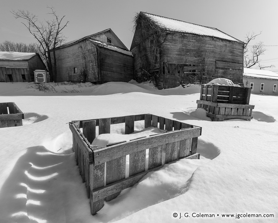 &#8220Barns at Bishop Farm, Winter 2015&#8221, Cheshire, Connecticut