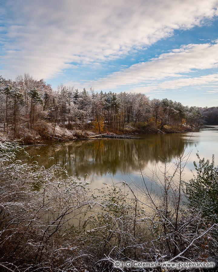 &#8220November Dusting&#8221, Farmington Reservoir, Farmington, Connecticut