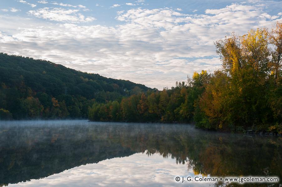 &#8220Dawn's Mirror on the Great Brook&#8221, Great Brook Reservoir at Lakewood Park, Waterbury, Connecticut