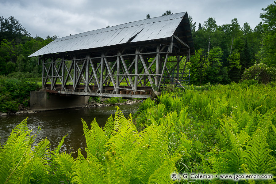&#8220Colton's Crossing on the Black&#8221, Lord's Creek Covered Bridge over the Black River, Irasburg, Vermont
