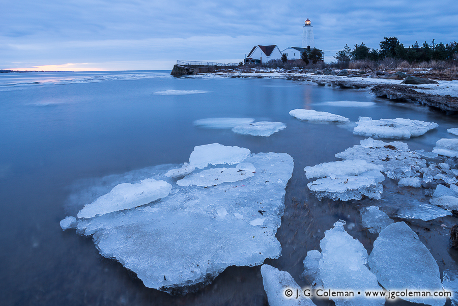 &#8220Frigid Winter on the Sound&#8221, Lynde Point Lighthouse on Long Island Sound, Old Saybrook, Connecticut