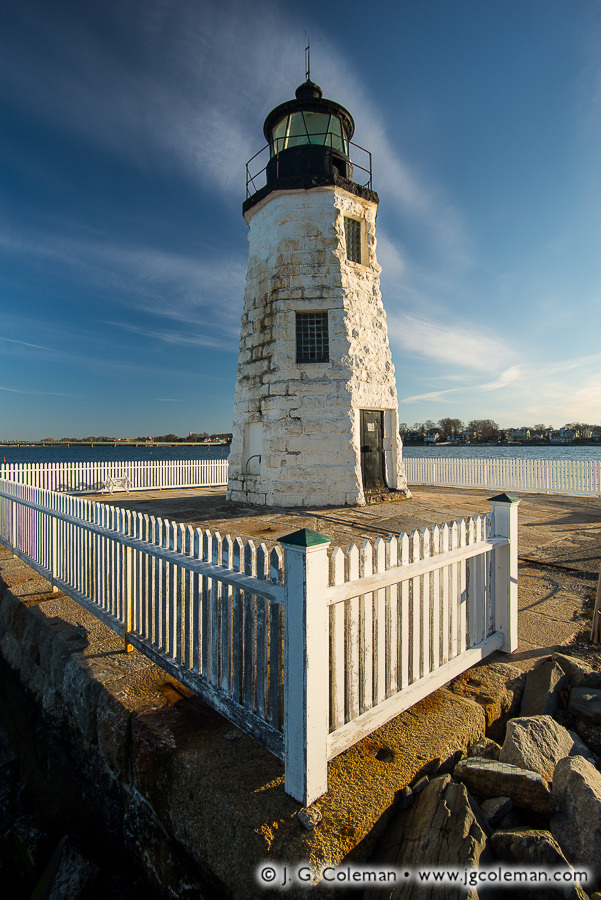 &#8220Abiding Guardian of Newport Harbor&#8221, Newport Harbor Lighthouse on Goat Island in Narraganset Bay, Newport, Rhode Island