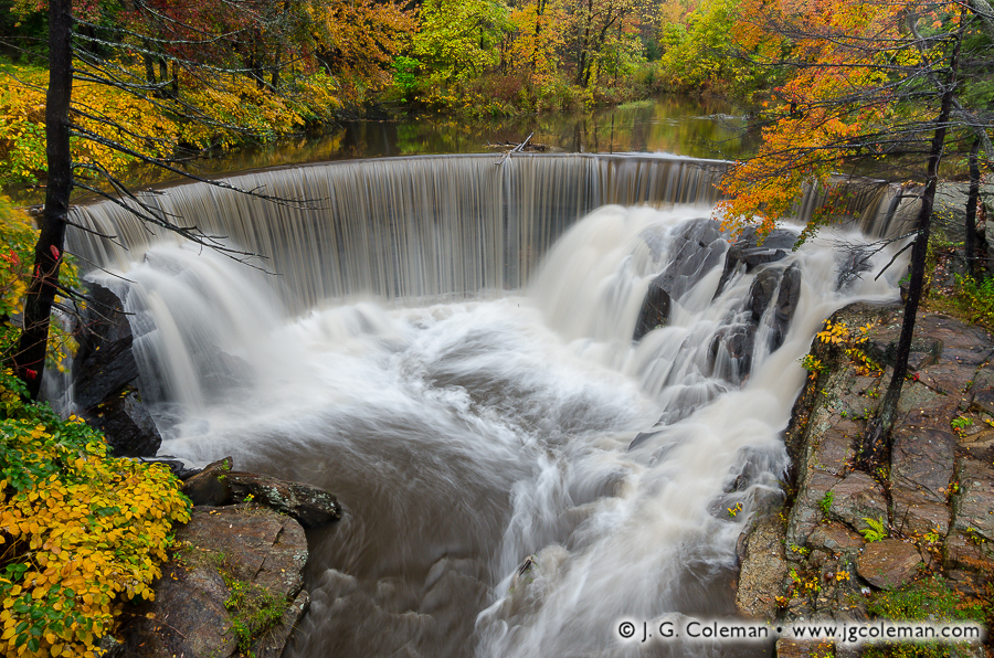 &#8220Horseshoe Autumn&#8221, Pequabuck Falls on the Pequabuck River, Plymouth, Connecticut