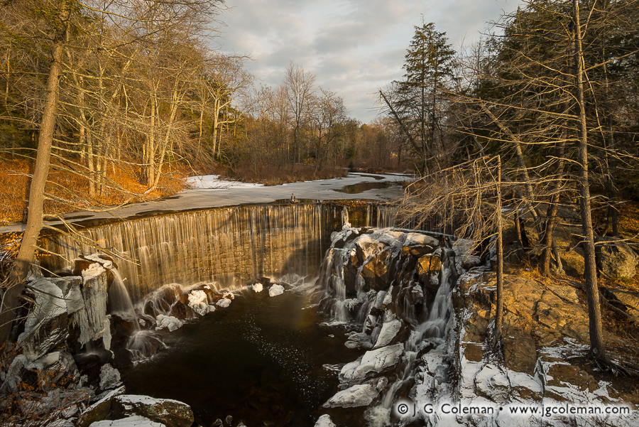 &#8220Pequabuck Cauldron, Winter&#8221, Pequabuck Falls on the Pequabuck River, Plymouth, Connecticut