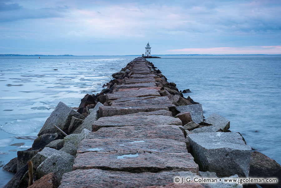 &#8220A Long, Granite Road&#8221, Saybrook Breakwater Lighthouse off Lynde Point, Old Saybrook, Connecticut