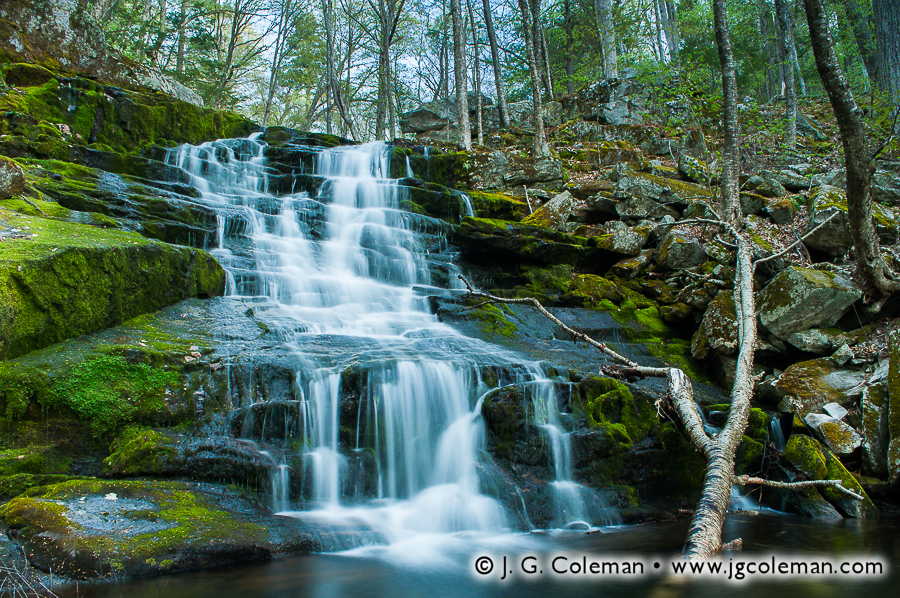 &#8220Springtime Twilight on Falls Brook&#8221, Falls Brook Falls, Falls Brook, Tunxis State Forest, Hartland, Connecticut